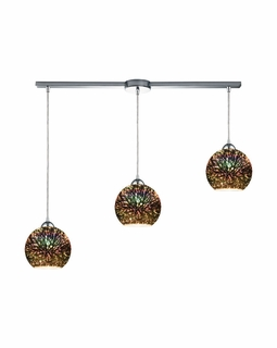 10517/3L ELK Lighting Illusions 3-Light Linear Pendant Fixture in Polished Chrome with 3-D Starburst Glass