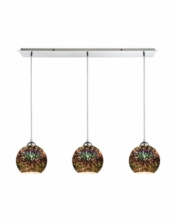 10517/3LP ELK Lighting Illusions 3-Light Linear Pendant Fixture in Polished Chrome with 3-D Starburst Glass