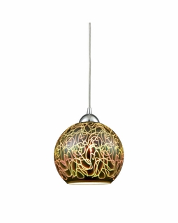10518/1 ELK Lighting Illusions 1-Light Mini Pendant in Polished Chrome with 3-D Graffiti Glass