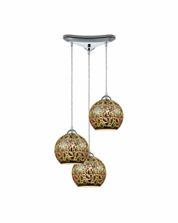 10518/3 ELK Lighting Illusions 3-Light Triangular Pendant Fixture in Polished Chrome with 3-D Graffiti Glass