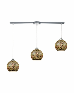 10518/3L ELK Lighting Illusions 3-Light Linear Pendant Fixture in Polished Chrome with 3-D Graffiti Glass