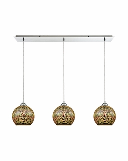 10518/3LP ELK Lighting Illusions 3-Light Linear Pendant Fixture in Polished Chrome with 3-D Graffiti Glass