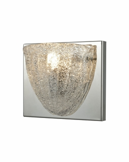 10725/1 ELK Lighting Verannis 1-Light Vanity Sconce in Polished Chrome with Hand-formed Clear Sugar Glass