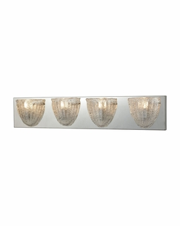 10727/4 ELK Lighting Verannis 4-Light Vanity Sconce in Polished Chrome with Hand-formed Clear Sugar Glass