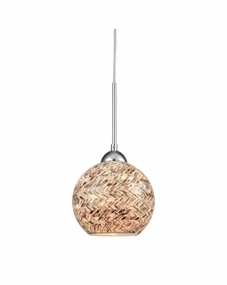 10731/1 ELK Lighting Crosshatch 1-Light Mini Pendant in Polished Chrome with Painted Mosaic Glass