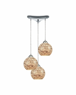 10731/3 ELK Lighting Crosshatch 3-Light Triangular Pendant Fixture in Polished Chrome with Painted Mosaic Glass