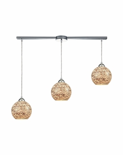 10731/3L ELK Lighting Crosshatch 3-Light Linear Pendant Fixture in Polished Chrome with Painted Mosaic Glass