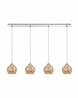 10731/4LP ELK Lighting Crosshatch 4-Light Linear Pendant Fixture in Polished Chrome with Painted Mosaic Glass