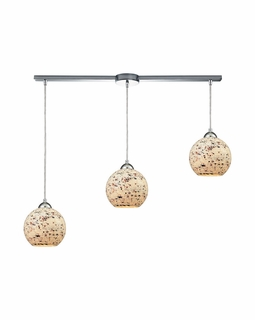 10741/3L ELK Lighting Spatter 3-Light Linear Pendant Fixture in Polished Chrome with Spatter Mosaic Glass