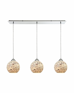 10741/3LP ELK Lighting Spatter 3-Light Linear Pendant Fixture in Polished Chrome with Spatter Mosaic Glass