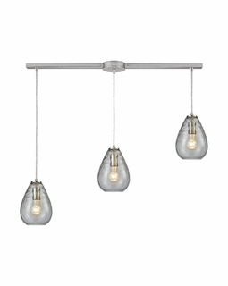 10760/3L ELK Lighting Lagoon 3-Light Linear Pendant Fixture in Satin Nickel with Clear Water Glass