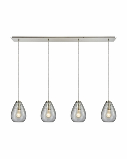 10760/4LP ELK Lighting Lagoon 4-Light Linear Pendant Fixture in Satin Nickel with Clear Water Glass