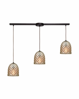 10765/3L ELK Lighting Brimley 3-Light Linear Pendant Fixture in Oil Rubbed Bronze with Diamond-textured Mercury Glass