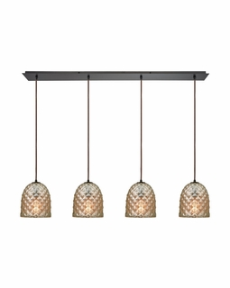 10765/4LP ELK Lighting Brimley 4-Light Linear Pendant Fixture in Oil Rubbed Bronze with Diamond-textured Mercury Glass