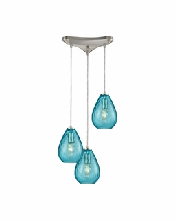 10770/3 ELK Lighting Lagoon 3-Light Triangular Pendant Fixture in Satin Nickel with Aqua Water Glass