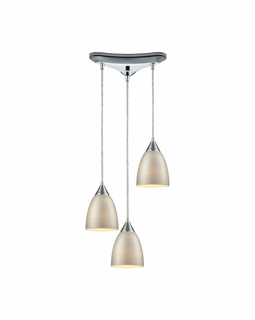56530/3 ELK Lighting Merida 3-Light Triangular Pendant Fixture in Polished Chrome with Silver Linen Glass