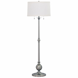"E901-SN House of Troy Essex 57"" twin pull floor lamp in satin nickel"