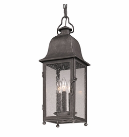 Troy Larchmont Exterior 3Lt Hanging Lantern Candelabra with Aged Pewter Finish