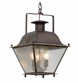 Troy Wellesley Exterior 3Lt Hanging Lantern Small Candelabra with Natural Rust Finish