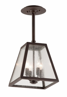 FCD3437-C Troy Exterior Amherst Large 4Lt Hand-Worked Iron Ceiling Mount Lantern Hanger in River Valley Rust Finish