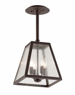 FCD3437 Troy Exterior Amherst Large 4Lt Hand-Worked Iron Ceiling Mount Lantern Hanger in River Valley Rust Finish