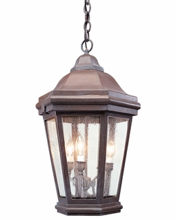 FCD6895BZP Troy Exterior Verona Large Aluminum Ceiling Mount 3Lt Hanging Lantern in Bronze Patina Finish