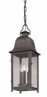 Troy Larchmont Exterior 1Lt Hanging Lantern Fluorescent Gu-24 with Aged Pewter Finish