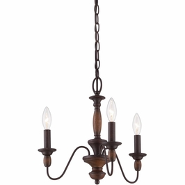 HK5003TC Quoizel Holbrook Chandelier 120v B10 Candelabra (3) Light with Tuscan Brown Finish