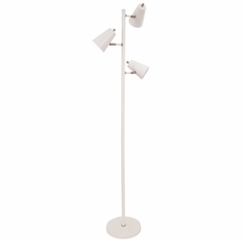 K130-WT House of Troy Kirby LED three light floor lamp in white with satin nickel accents