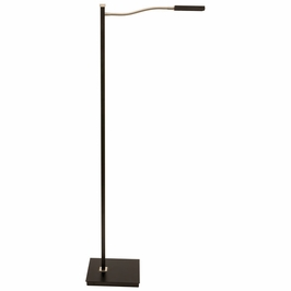 "LEW800-BLK House of Troy 52"" Lewis LED Gooseneck Floor Lamp in Black with Satin Nickel"