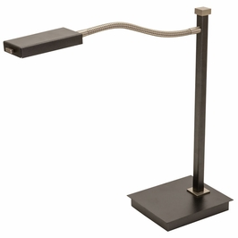 """LEW850-GT House of Troy 17.5"""" Lewis LED Gooseneck Table Lamp in Granite with Satin Nickel"""
