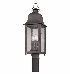 Troy Larchmont Exterior 3Lt Post Lantern Candelabra with Aged Pewter Finish