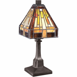 TF1018TVB Quoizel Stephen Tiffany Table Lamp 120v B10 Candelabra (1) Light with Vintage Bronze Finish