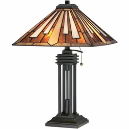TF1176TVB Quoizel Hathaway Tiffany Table Lamp 120v A19 Medium Base (2) Light with Vintage Bronze Finish