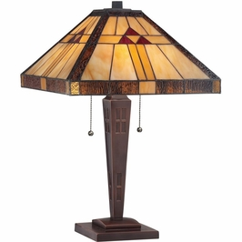 TF1274TRS Quoizel Tiffany Russet (2) Light Table Lamp