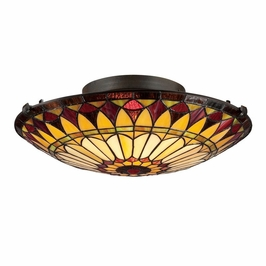 TF1400SVB Quoizel Tiffany Flush Mount 120v A19 Medium Base (2) Light with Vintage Bronze Finish