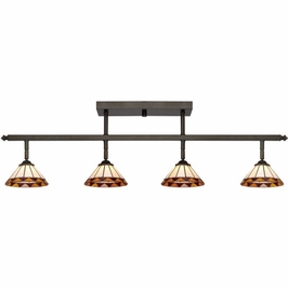 TF1404IB Quoizel 4 Light Tiffany Ceiling Track Light with Imperial Bronze Finish