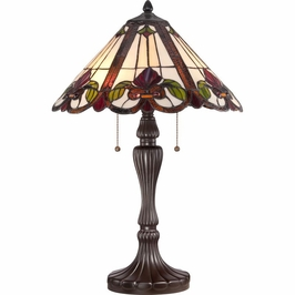 TF1425TWT Quoizel Fields Tiffany Table Lamp 120v A19 Medium Base (2) Light with Western Bronze Finish