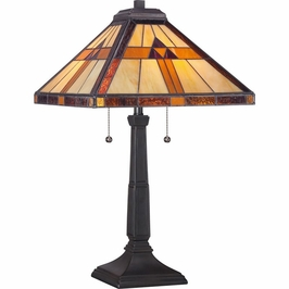 TF1427T Quoizel Bryant Tiffany Table Lamp 120v A19 Medium Base (2) Light with  Finish