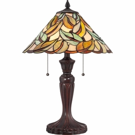 TF1428T Quoizel Gardner Tiffany Table Lamp 120v A19 Medium Base (2) Light with  Finish