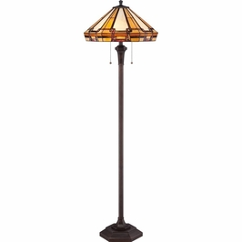 TF1431FRS Quoizel Burton Tiffany Floor Lamp 120v A19 Medium Base (2) Light with Russet Finish