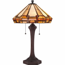 TF1431TRS Quoizel Burton Tiffany Table Lamp 120v A19 Medium Base (2) Light with Russet Finish