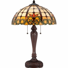 TF1440TRS Quoizel Bishop Tiffany Table Lamp 120v A19 Medium Base (2) Light with Russet Finish