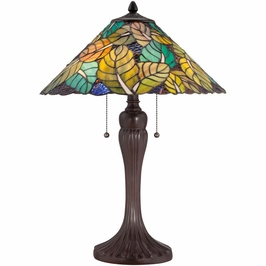TF1485TRS Quoizel Payne Tiffany Table Lamp 120v A19 Medium Base (2) Light with Russet Finish