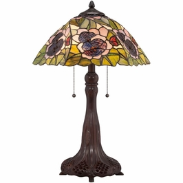TF1486T Quoizel Greene Tiffany Table Lamp 120v A19 Medium Base (2) Light with Russet Finish