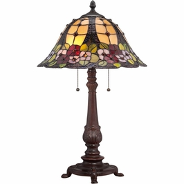 TF1489TRS Quoizel Mills Tiffany Table Lamp 120v A19 Medium Base (2) Light with Russet Finish