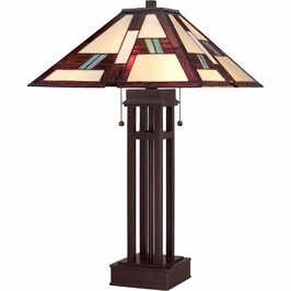 TF1490TRS Quoizel Tiffany Russet (2) Light Table Lamp