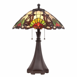 TF1504TWT Quoizel Moore Tiffany Table Lamp 120v A19 Medium Base (2) Light with Western Bronze Finish