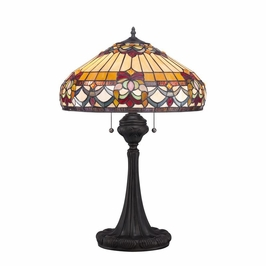 TF1511TVB Quoizel Belle Fleur Tiffany Table Lamp 120v A19 Medium Base (2) Light with Vintage Bronze Finish
