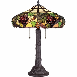 TF1558TWT Quoizel Grapevine Tiffany Table Lamp 120v A19 Medium Base (2) Light with Western Bronze Finish